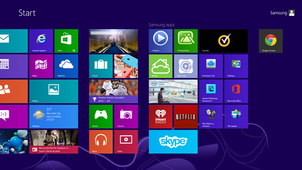 The Samsung ATIV Book 9 Plus' Start screen