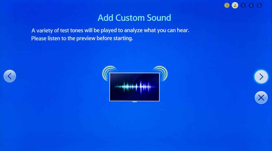The Sound Customizer calibrates the F9000's audio to the room it's in.