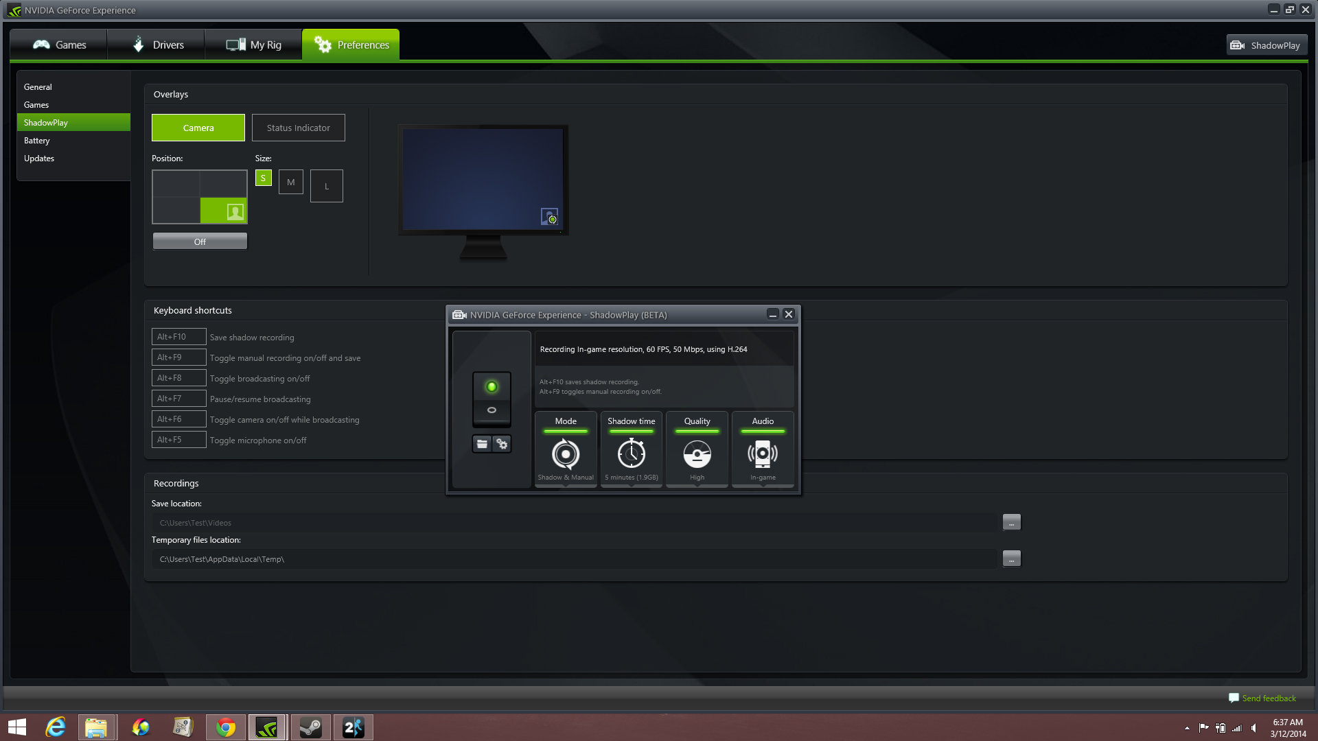 ShadowPlay, Nvidia's game-recording/broadcasting tool