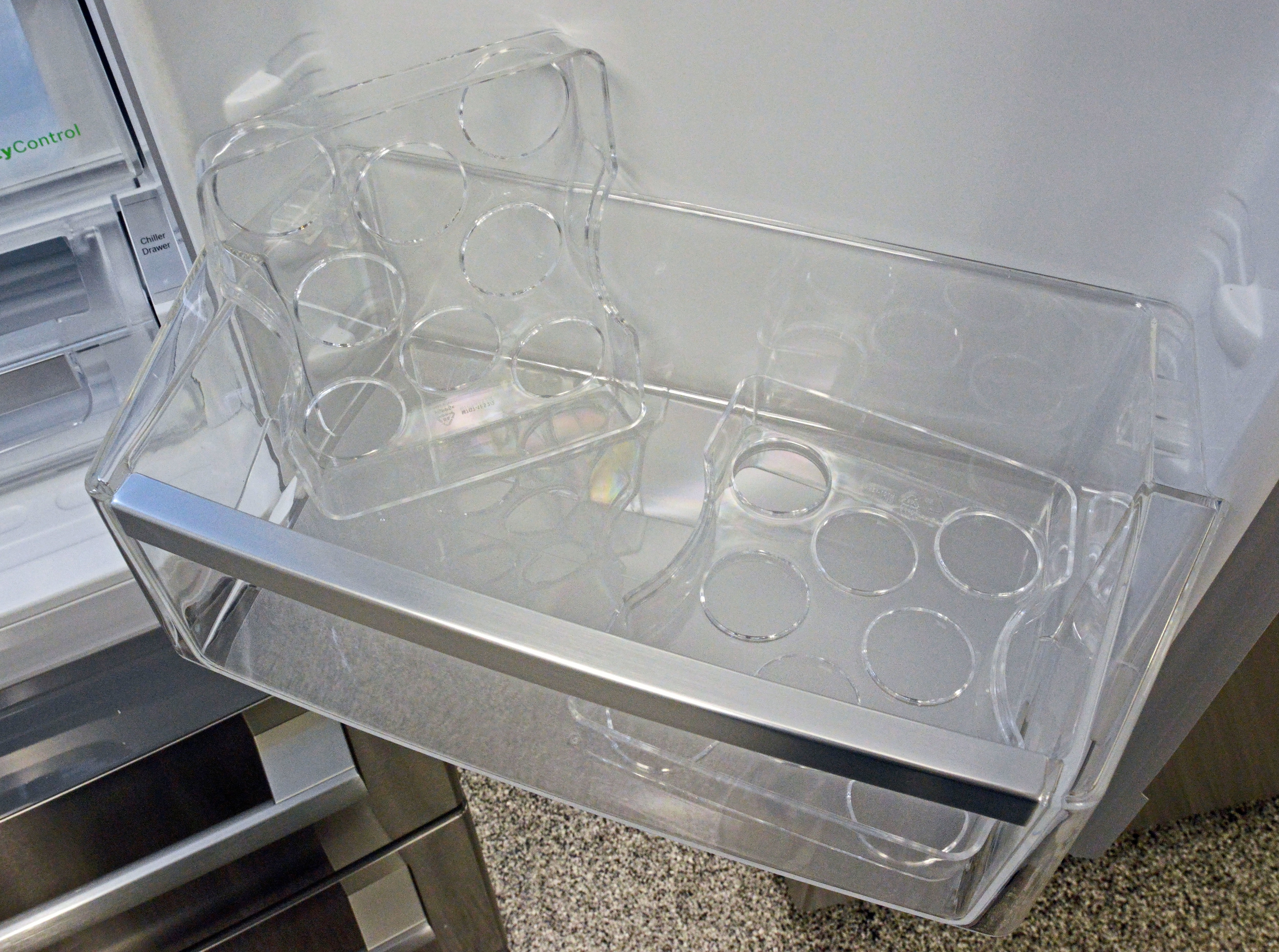 You get two egg trays, each able to hold eight eggs. Whether you fill one or both, it makes for some interesting math...