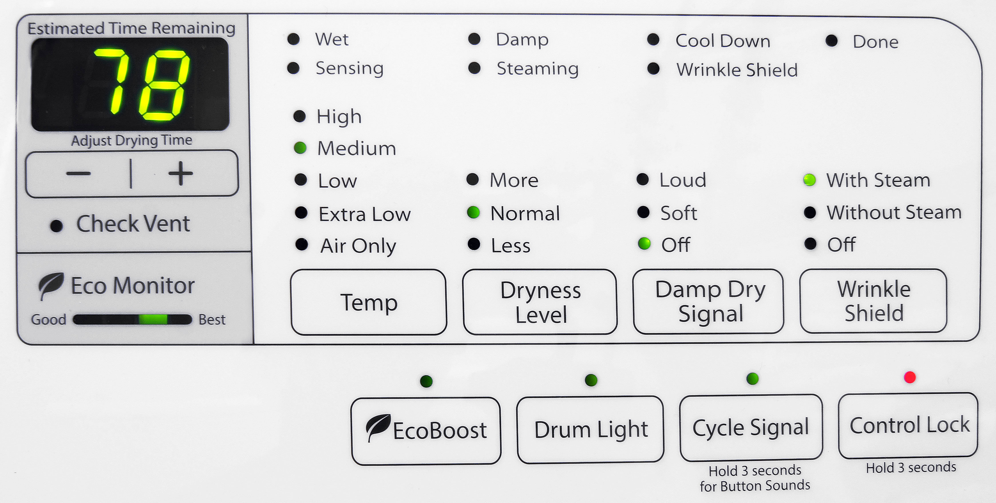 For a dryer with so few features, the Whirlpool Duet WGD87HEDW sure has a lot of indicator lights.