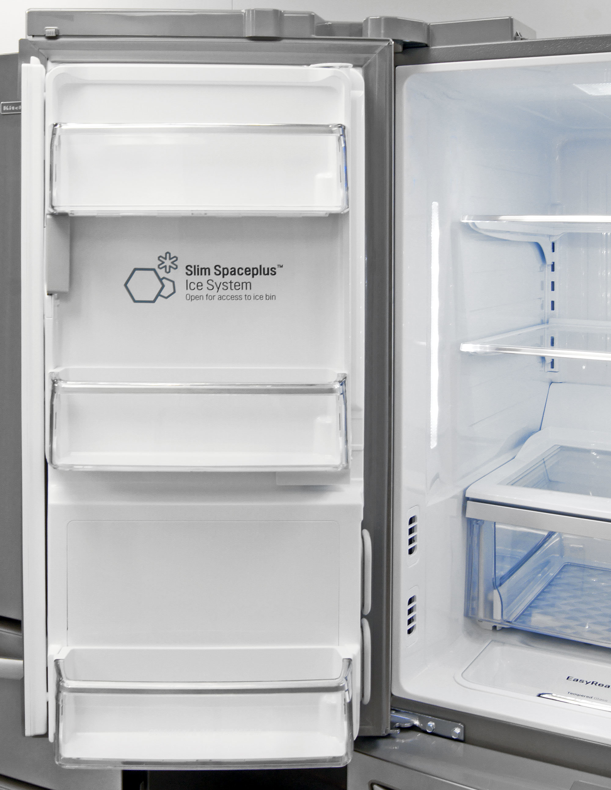 You get three shallow shelves on the LG LMXS30786S's left fridge door, along with the icemaker and a hidden water filter nook.
