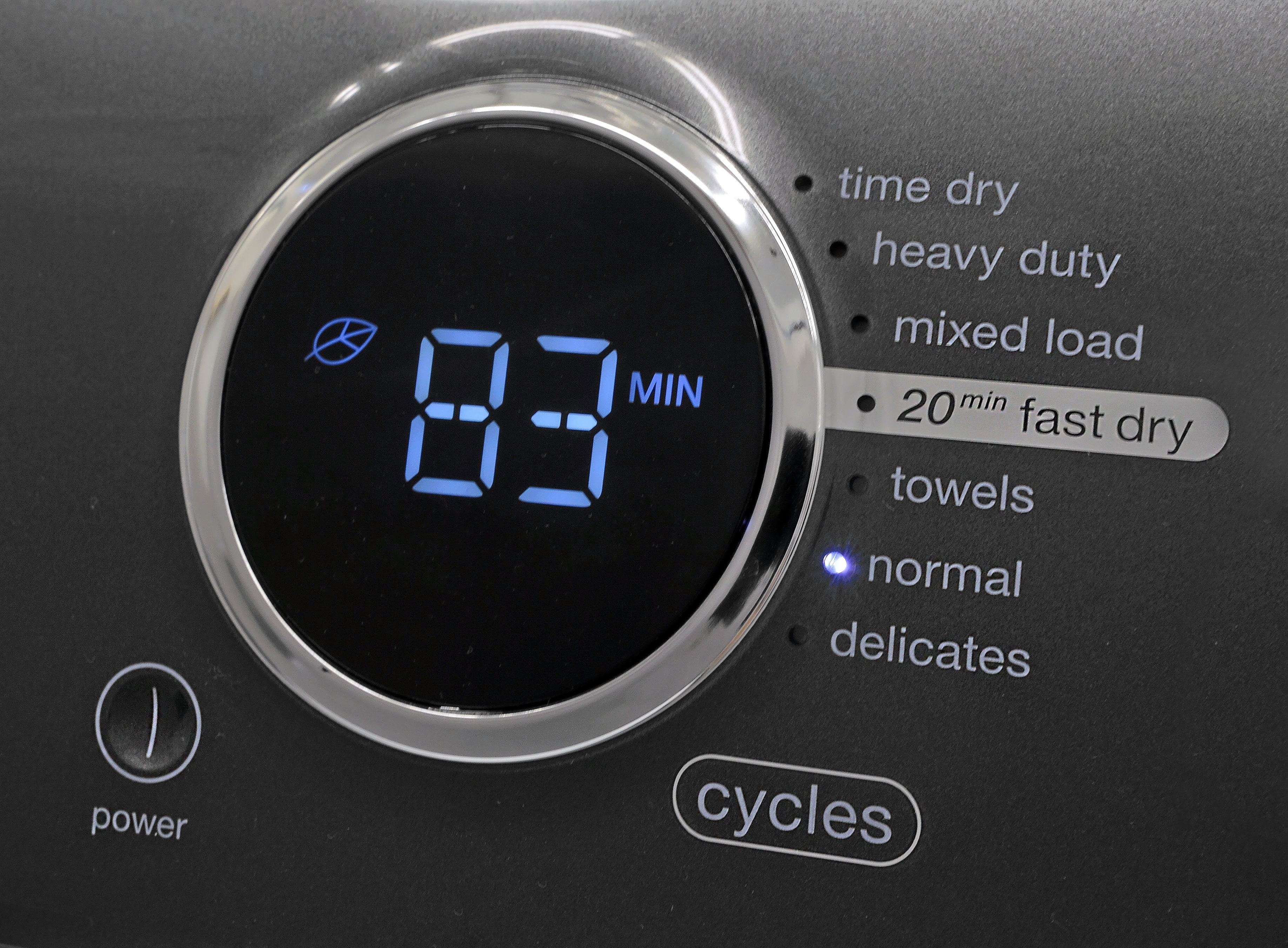 You have to push a button to move through the Electrolux EFME417SIW's cycle list—an irritation, but not a deal breaker necessarily.