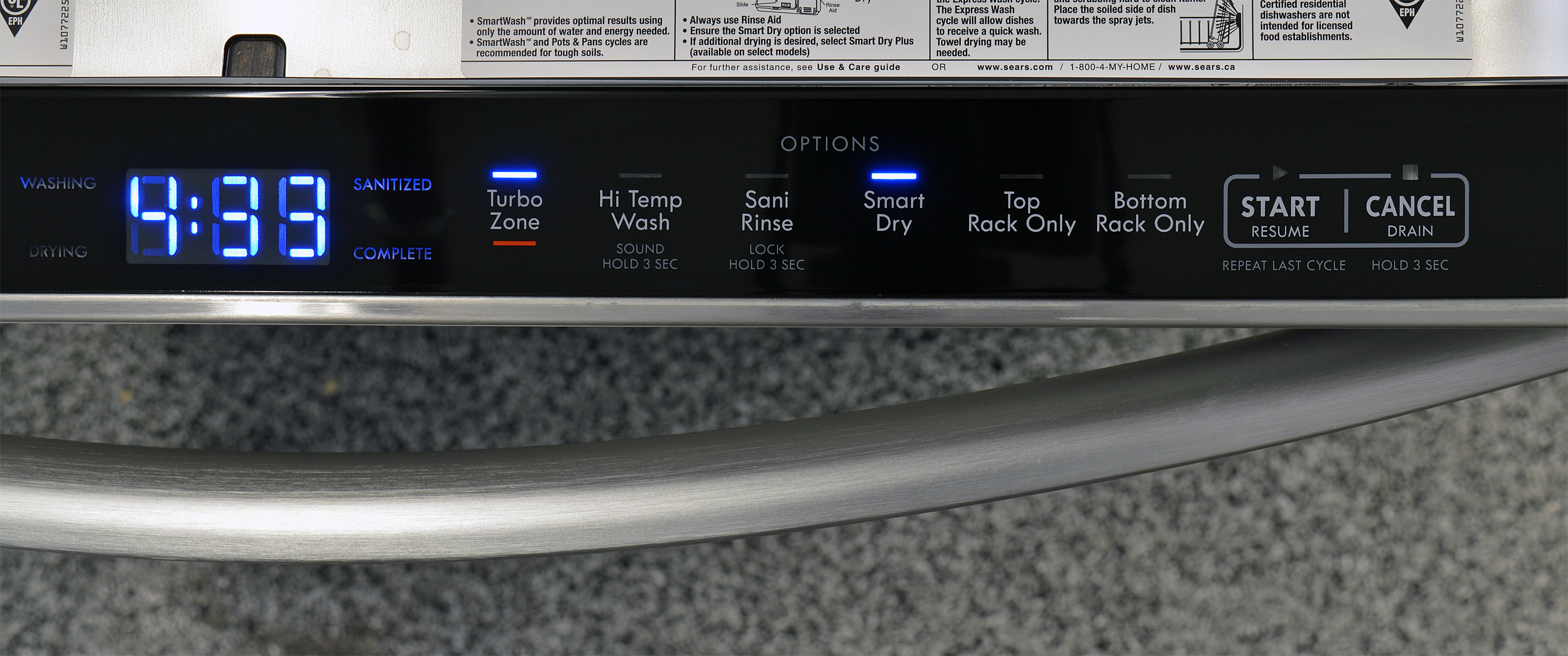 Kenmore Elite 14793 customization controls