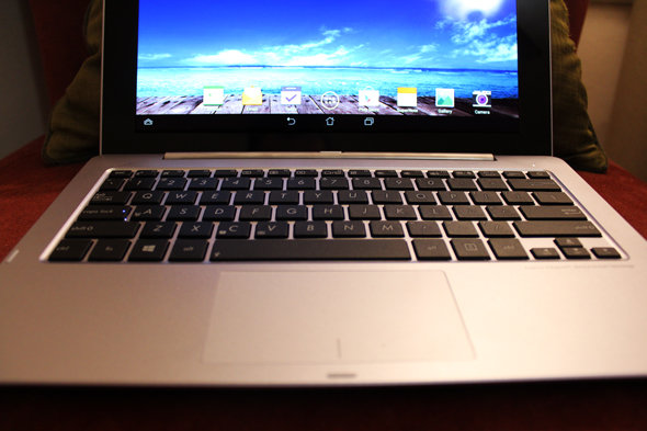 The Trio's keyboard is cramped, although its touchpad works quite well.