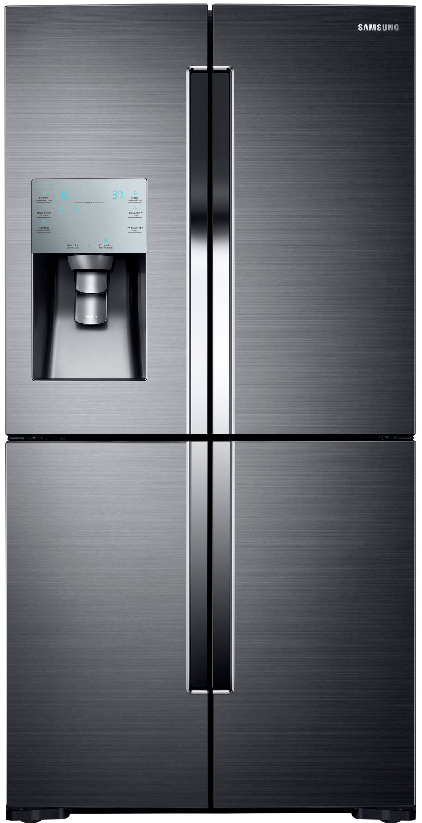 The basic RF28K9070. All three RF28K fridges are available in Samsung's version of black stainless, as well as conventional stainless steel.