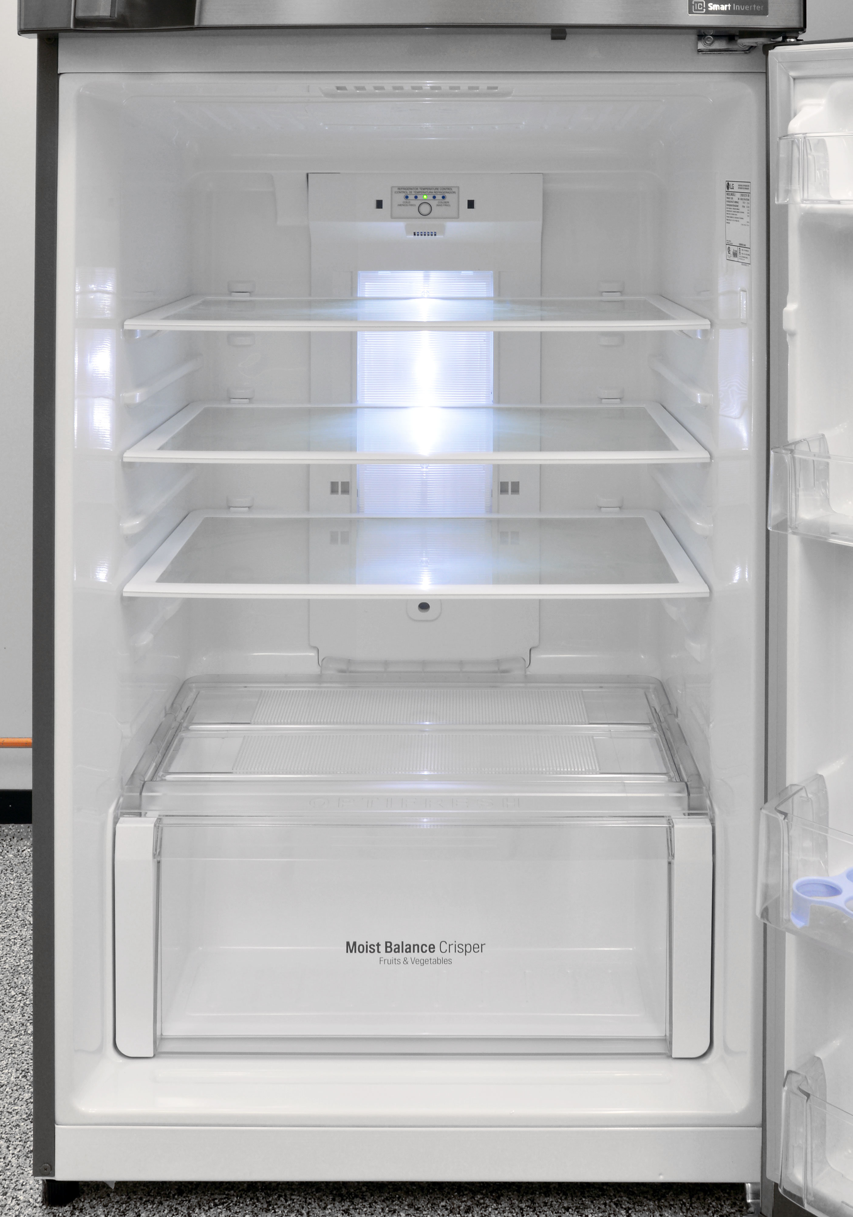 The LG LTNS16121V's fridge interior is stylish, but the LED lighting is surprisingly dim.