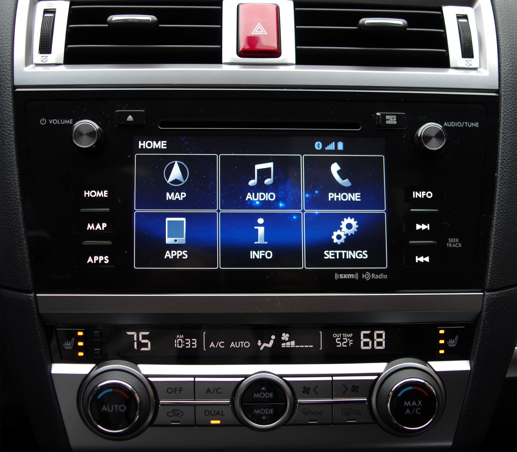 2015 Subaru Outback infotainment main menu