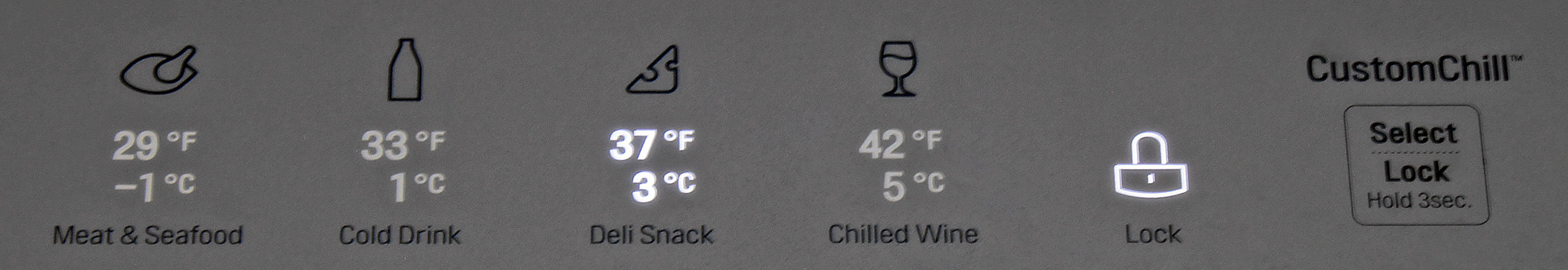 The LG LMXS30776S's central drawer breaks its four different settings down by temperature and recommended food type.