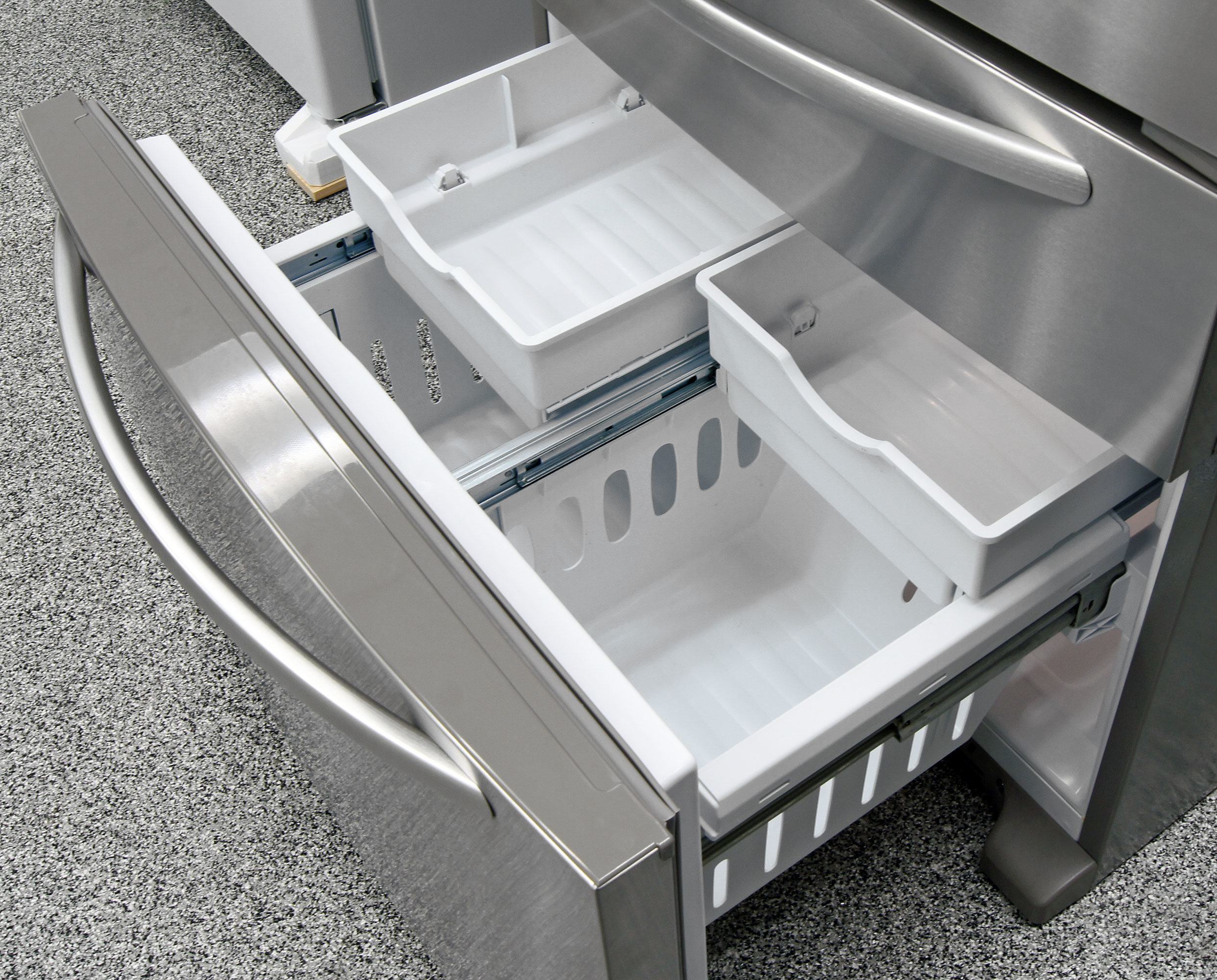 Extra sliding buckets in the KitchenAid KFXS25RYMS's freezer take up a little more space, but substantially improve food organization.