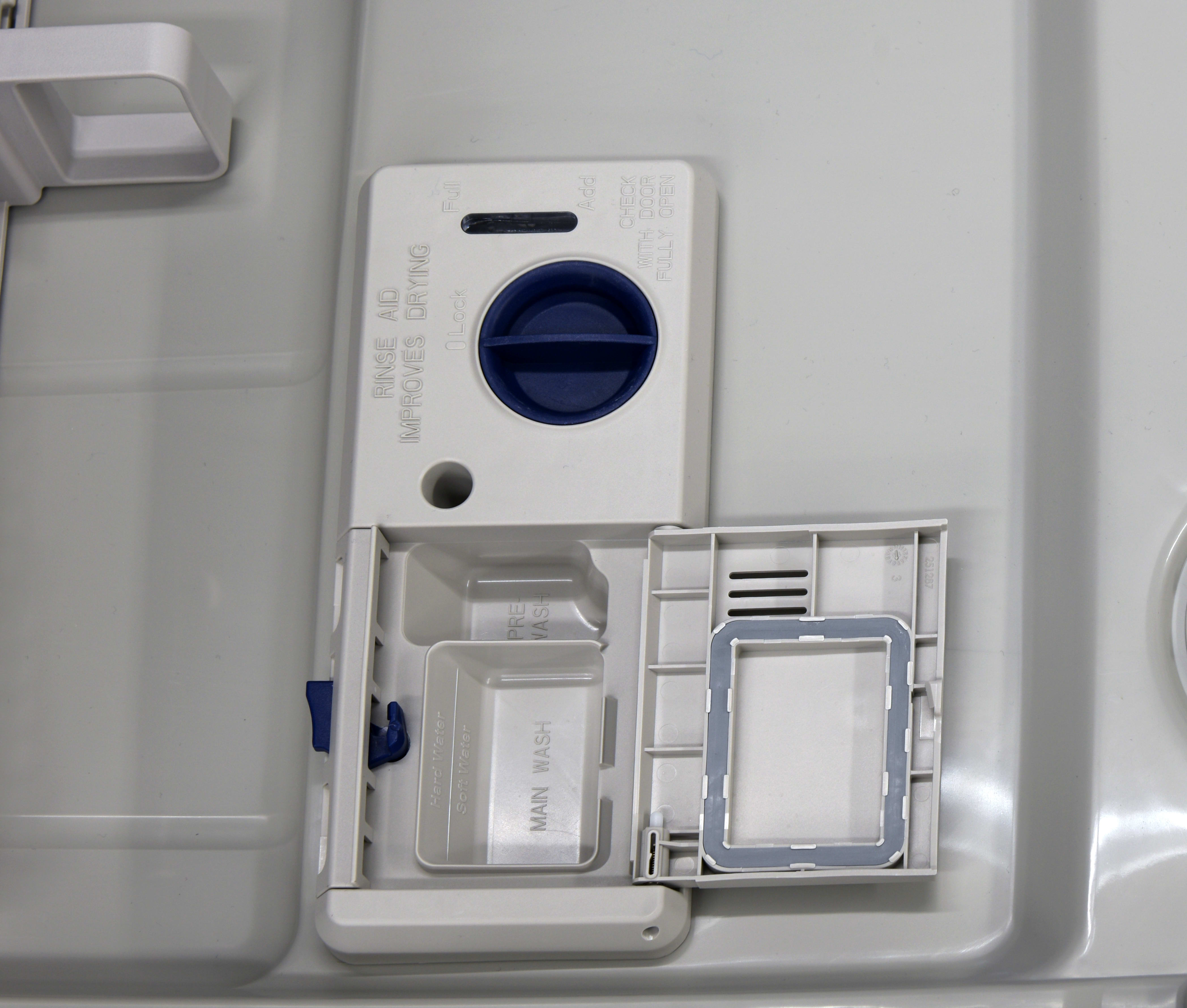 Whirlpool WDF540PADM rinse aid and detergent dispenser