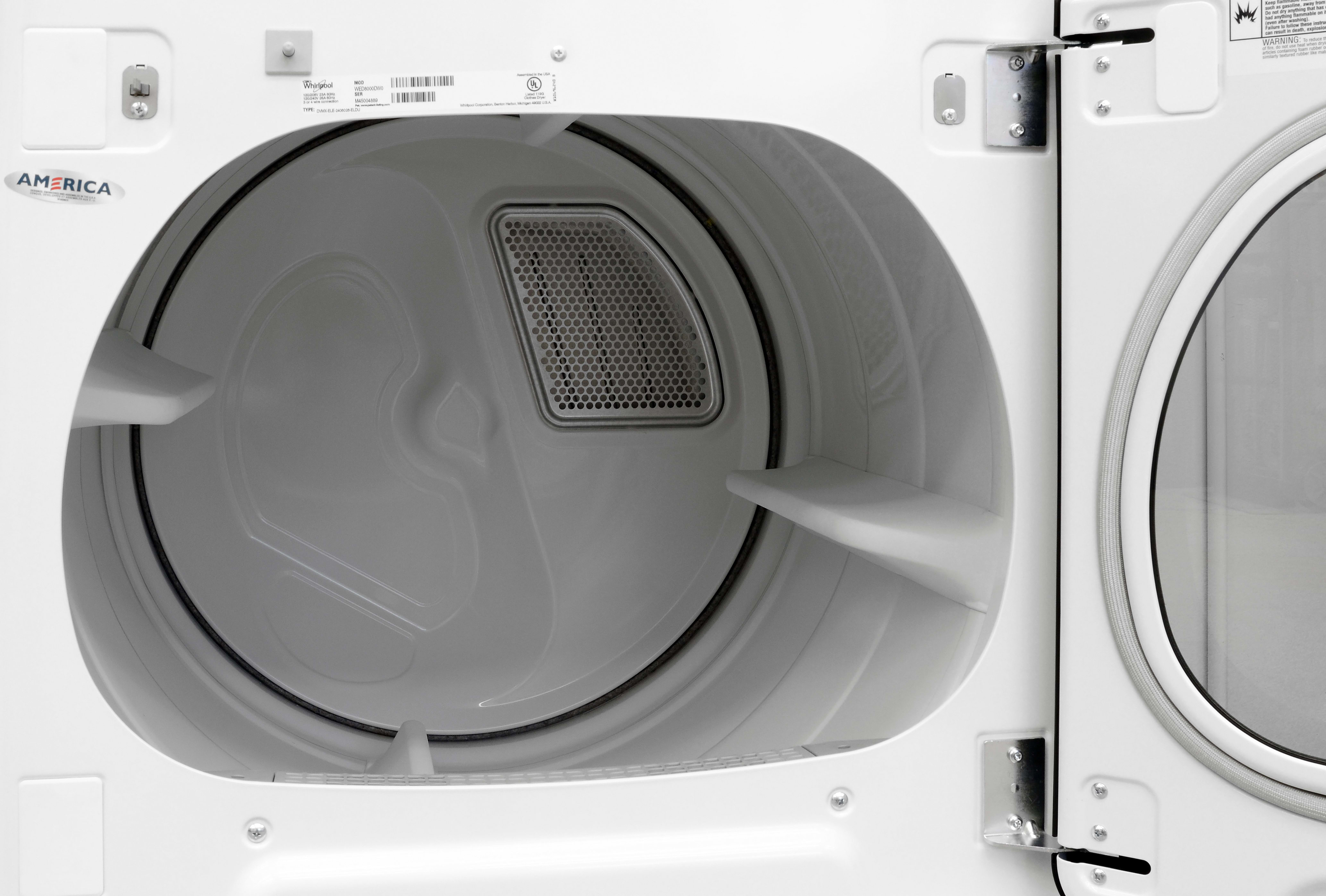White drums like the one found inside the Whirlpool Cabrio WED8000DW may be common on lower-priced models, but ones capable of holding 8.8 cubic feet of laundry are not.