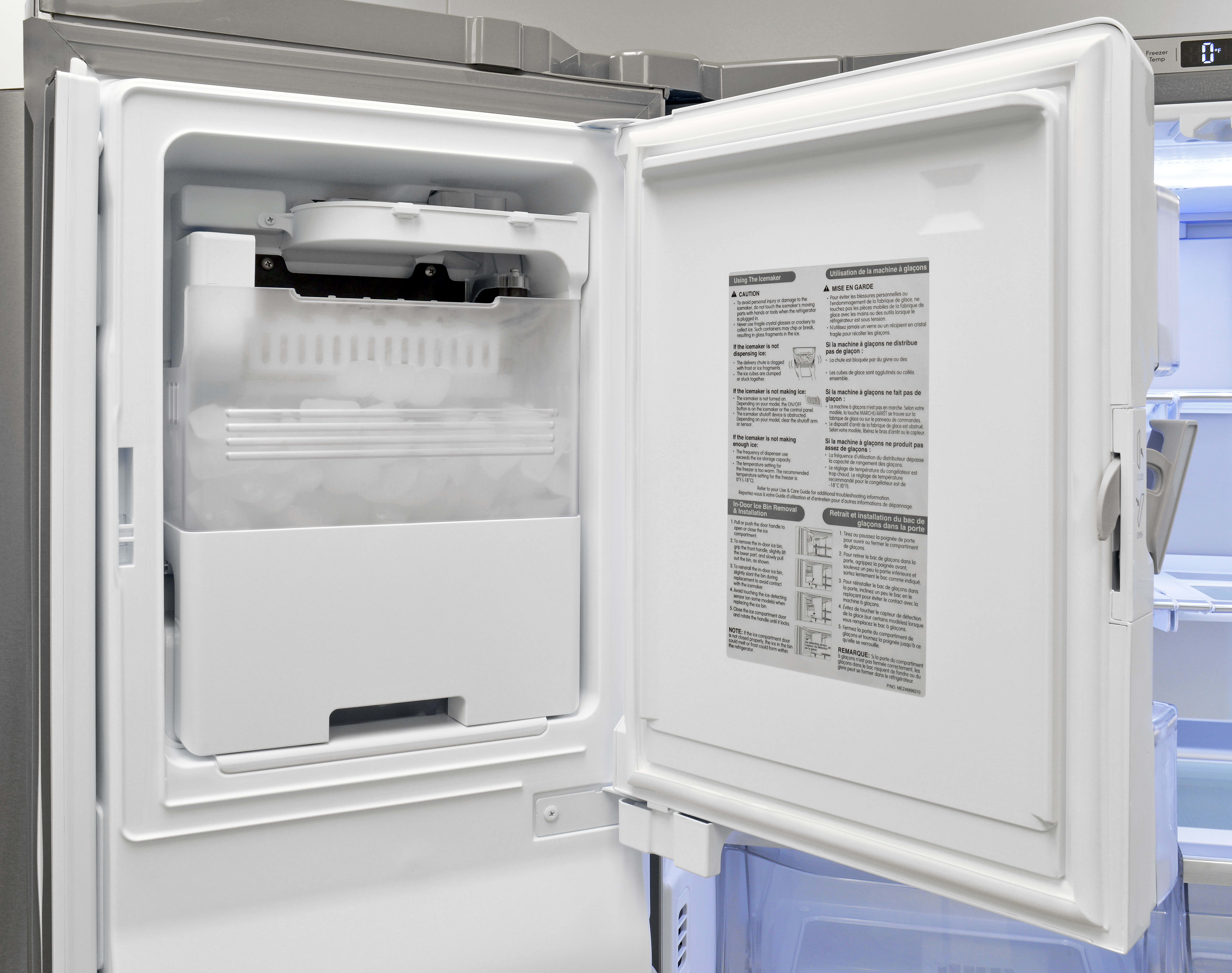 The Kenmore Pro 79993's slim ice maker takes up minimal space while still holding plenty of cubes.
