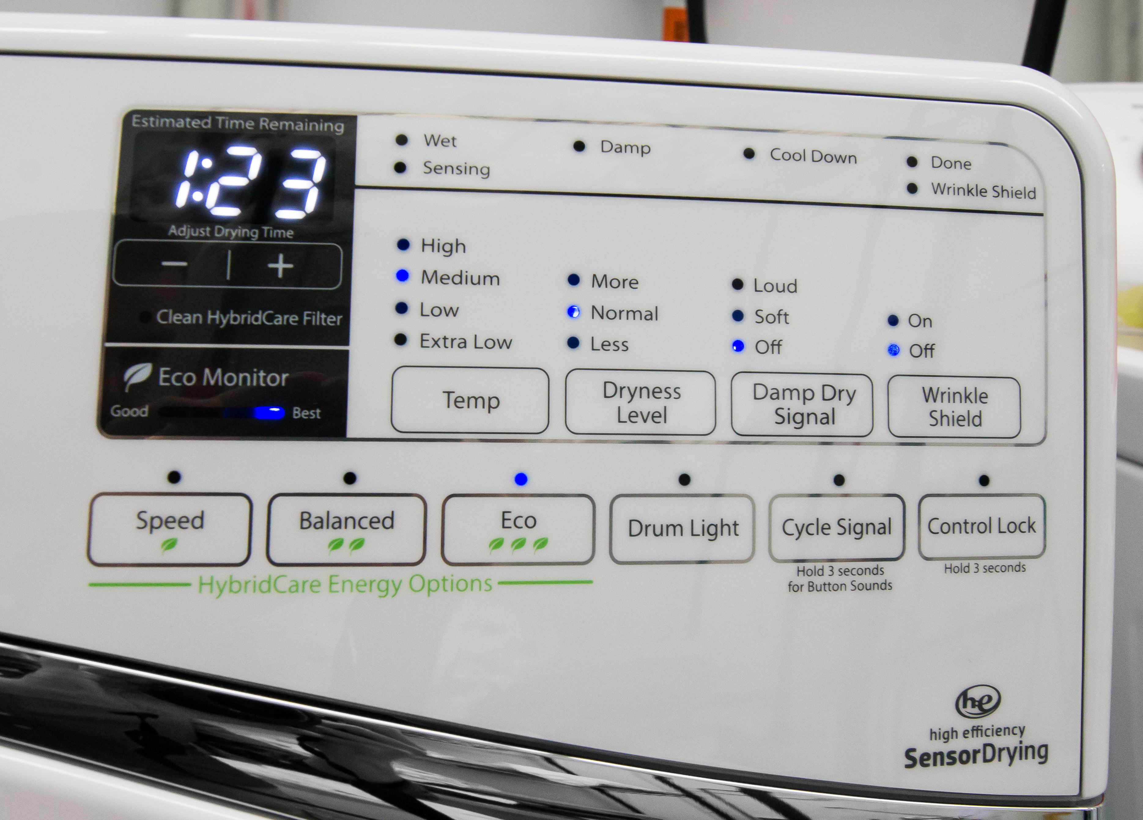 The Whirlpool Duet WED99HEDW's controls are easy to use, but the customizable options and extra features are actually a bit slim for a dryer this pricey.