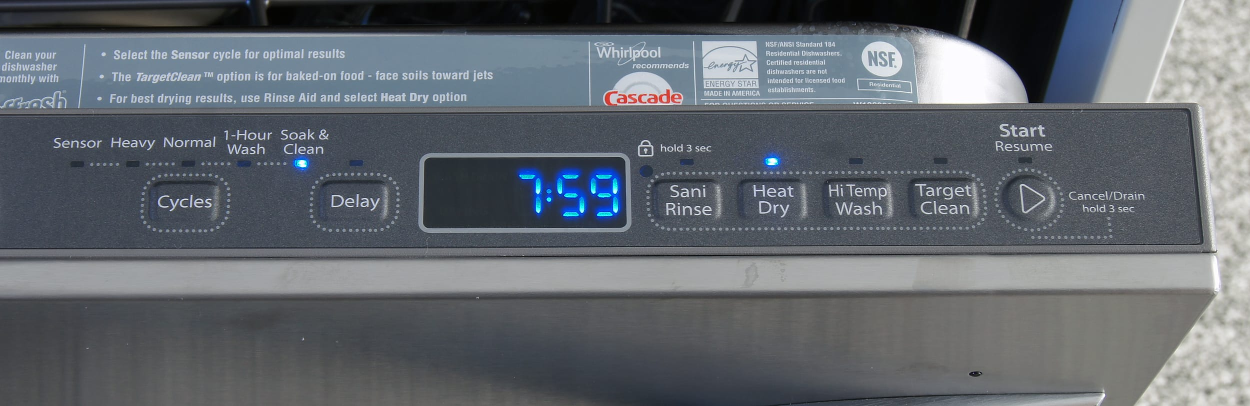 Whirlpool WDT920SADM controls