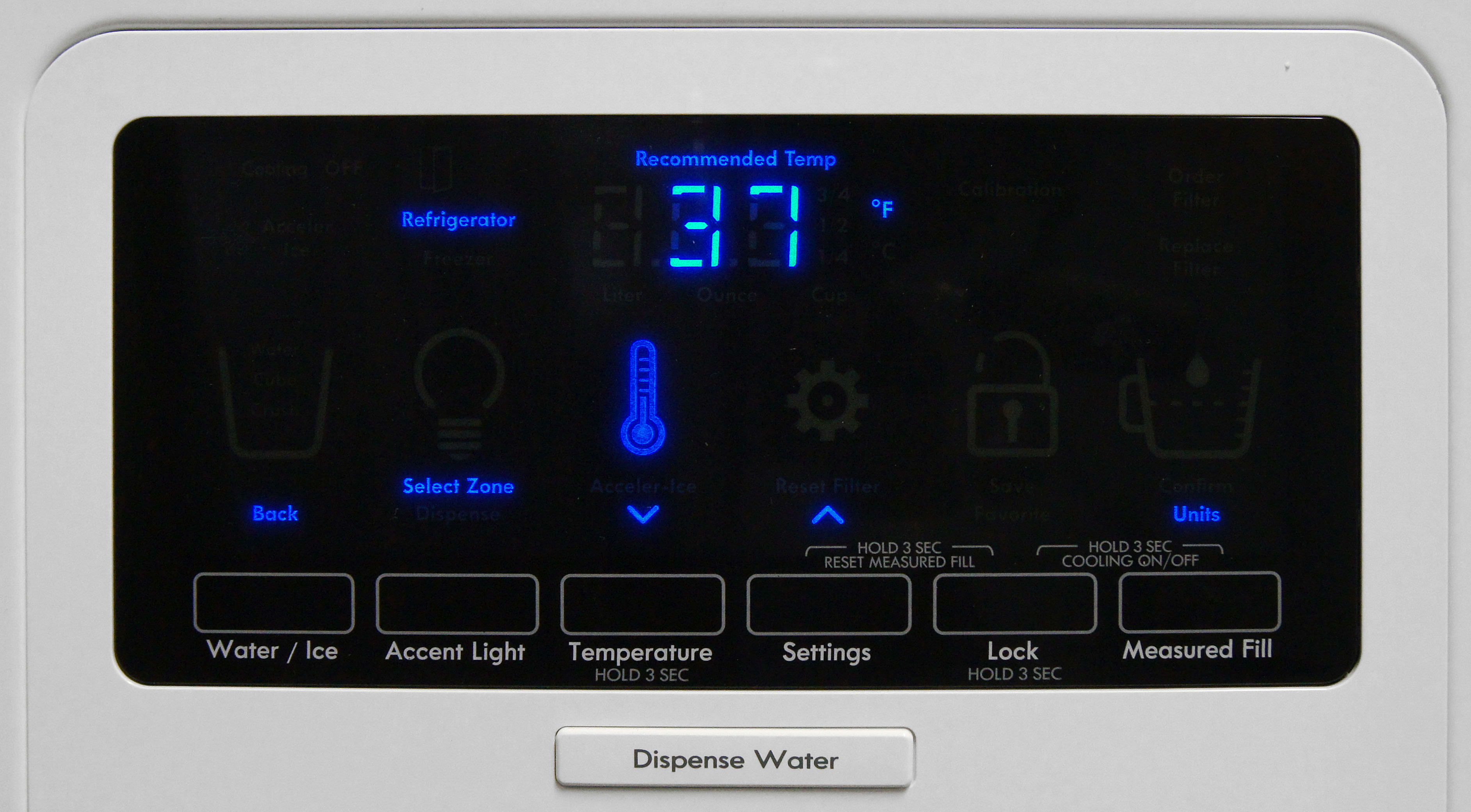 The Kenmore Elite 51162's controls look sleek, but having to hold down buttons to adjust most of the settings make for a clunky experience.