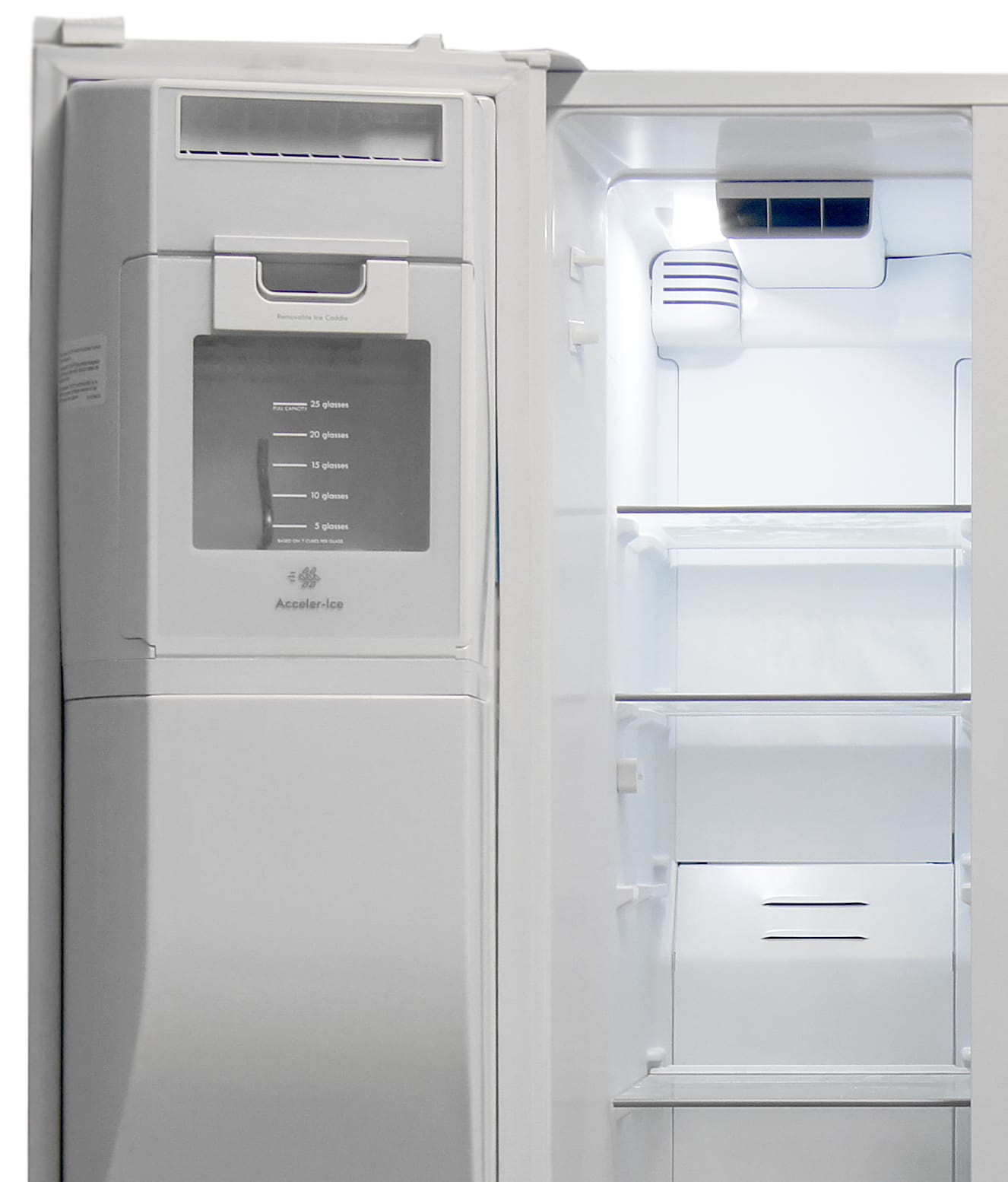 Most of the Kenmore Elite 51162's freezer door is taken up by the icemaker, but the main compartment offers plenty of shelves for storage.