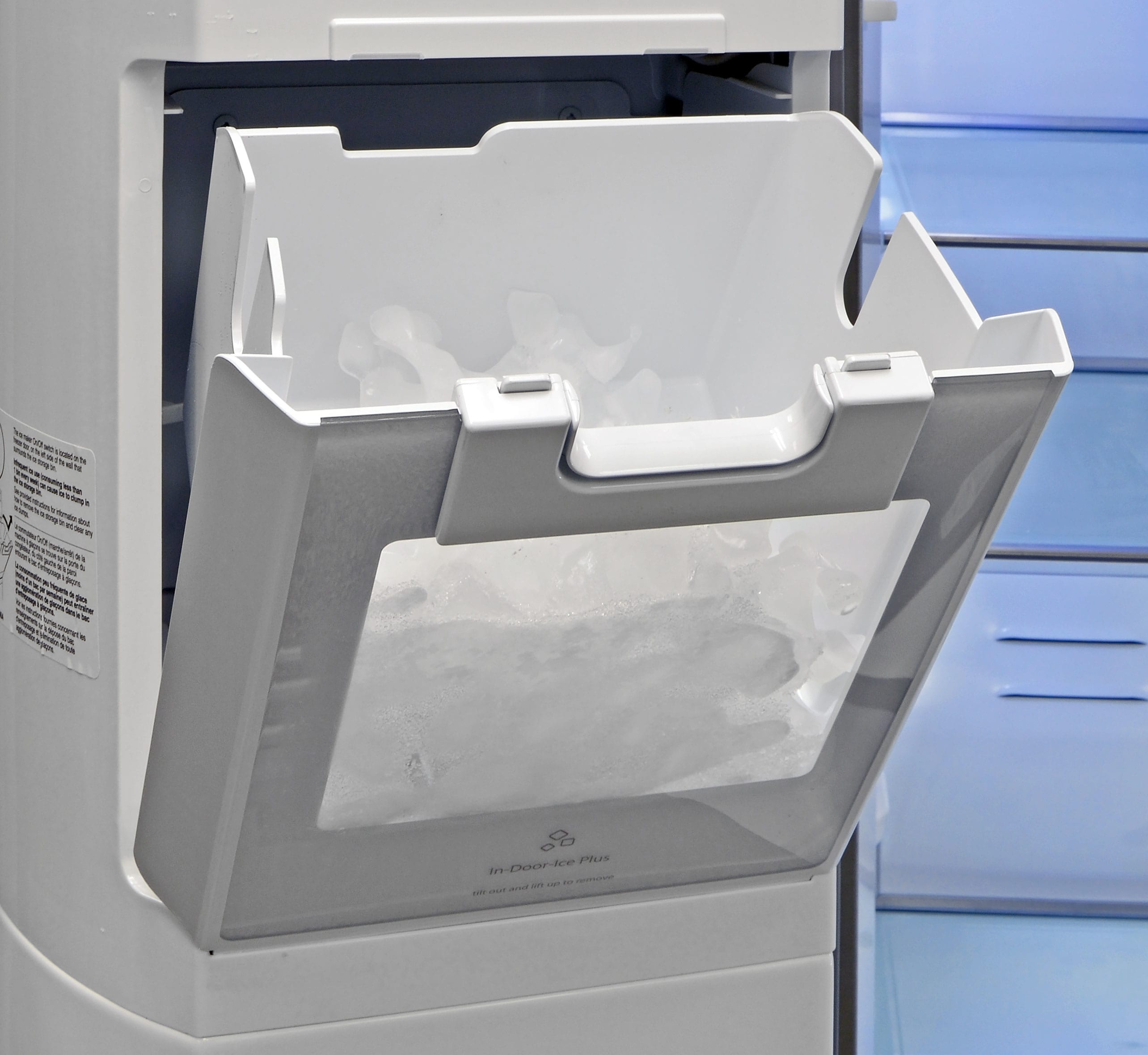 The Whirlpool WRS975SIDM's door-mounted ice maker is both accessible and large enough to hold plenty of cubes.
