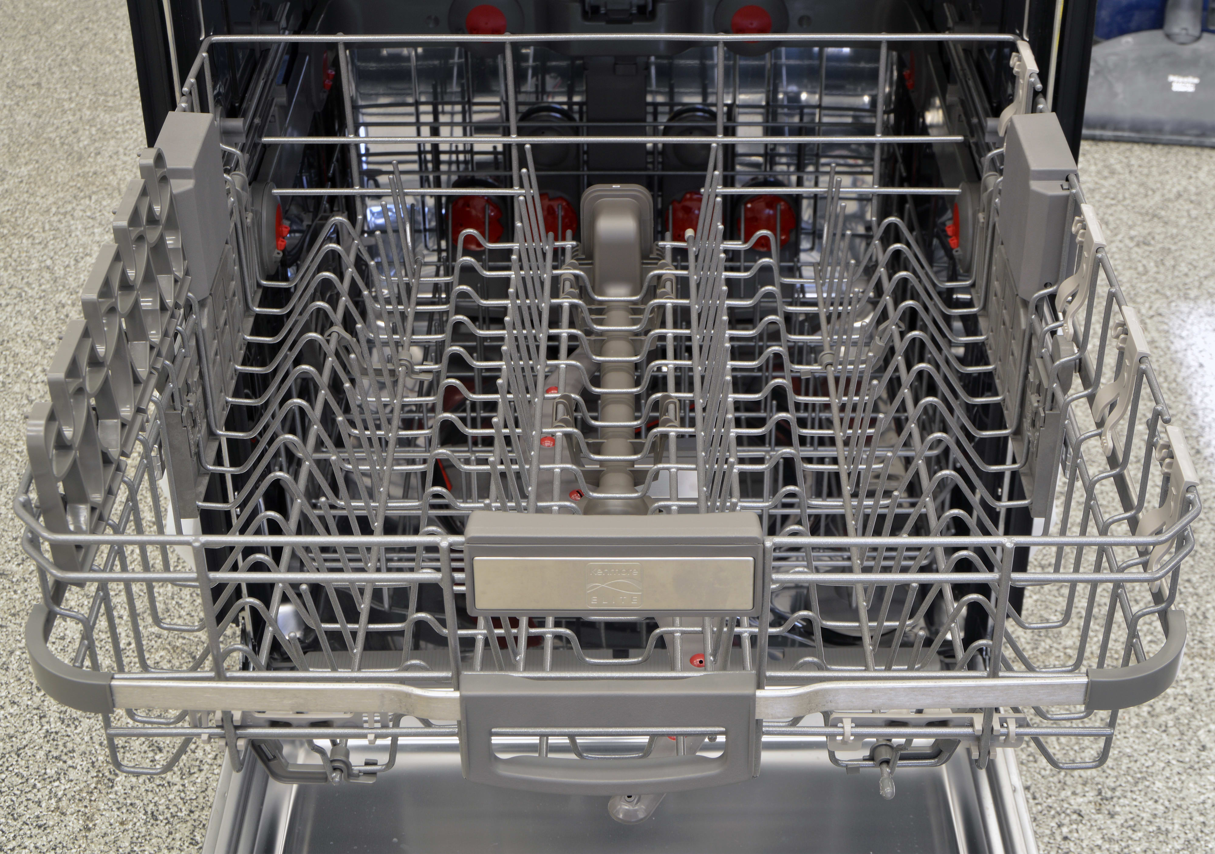 The Kenmore 14823's upper rack, which is full of movable parts