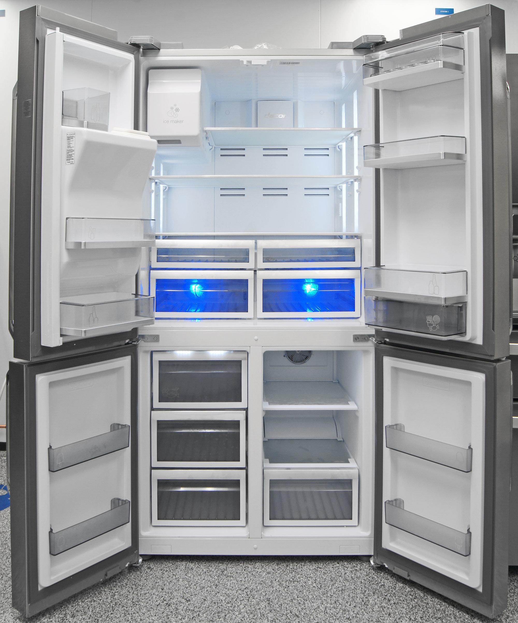 Big and stylish—that's the name of the game with the Dacor DTF364SIWS's high-end four-door refrigeration.
