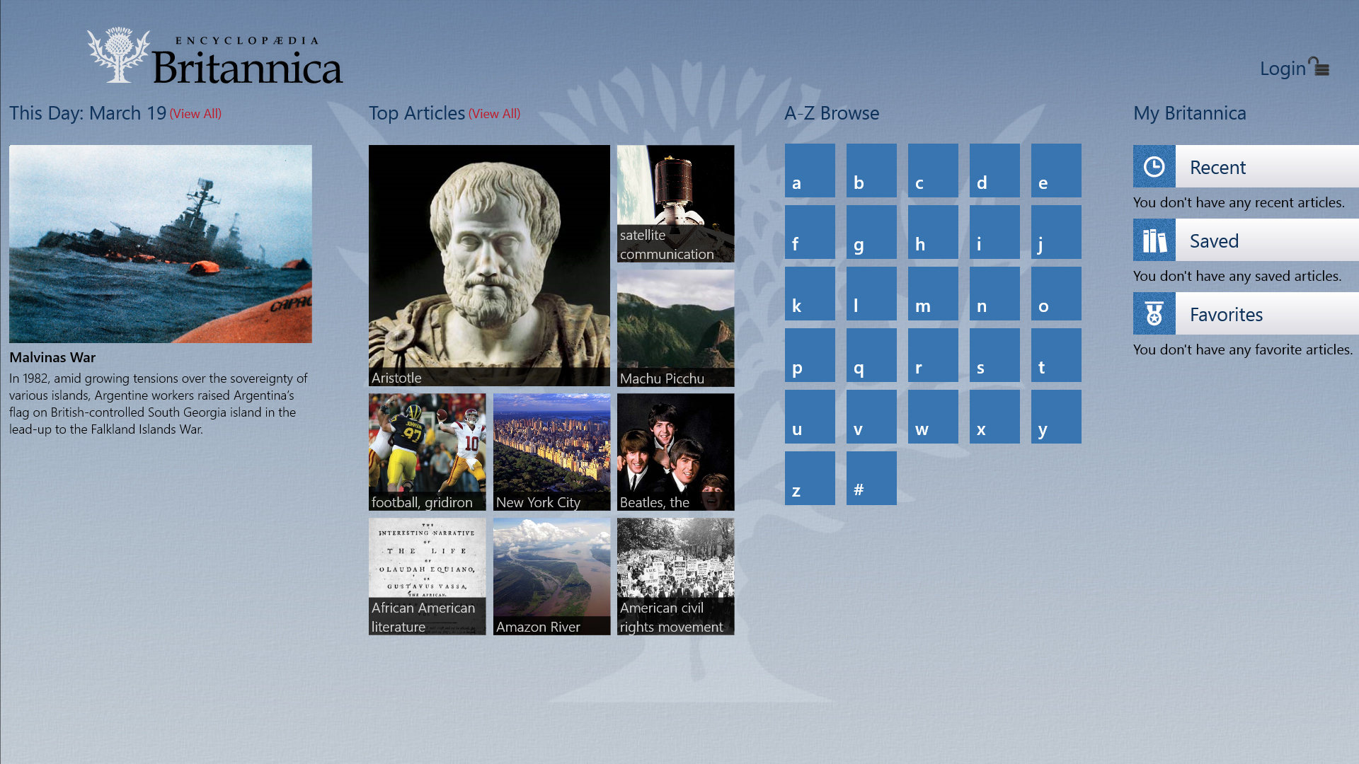The Lenovo Y510p offers a fancy interface for Encyclopedia Britannica.