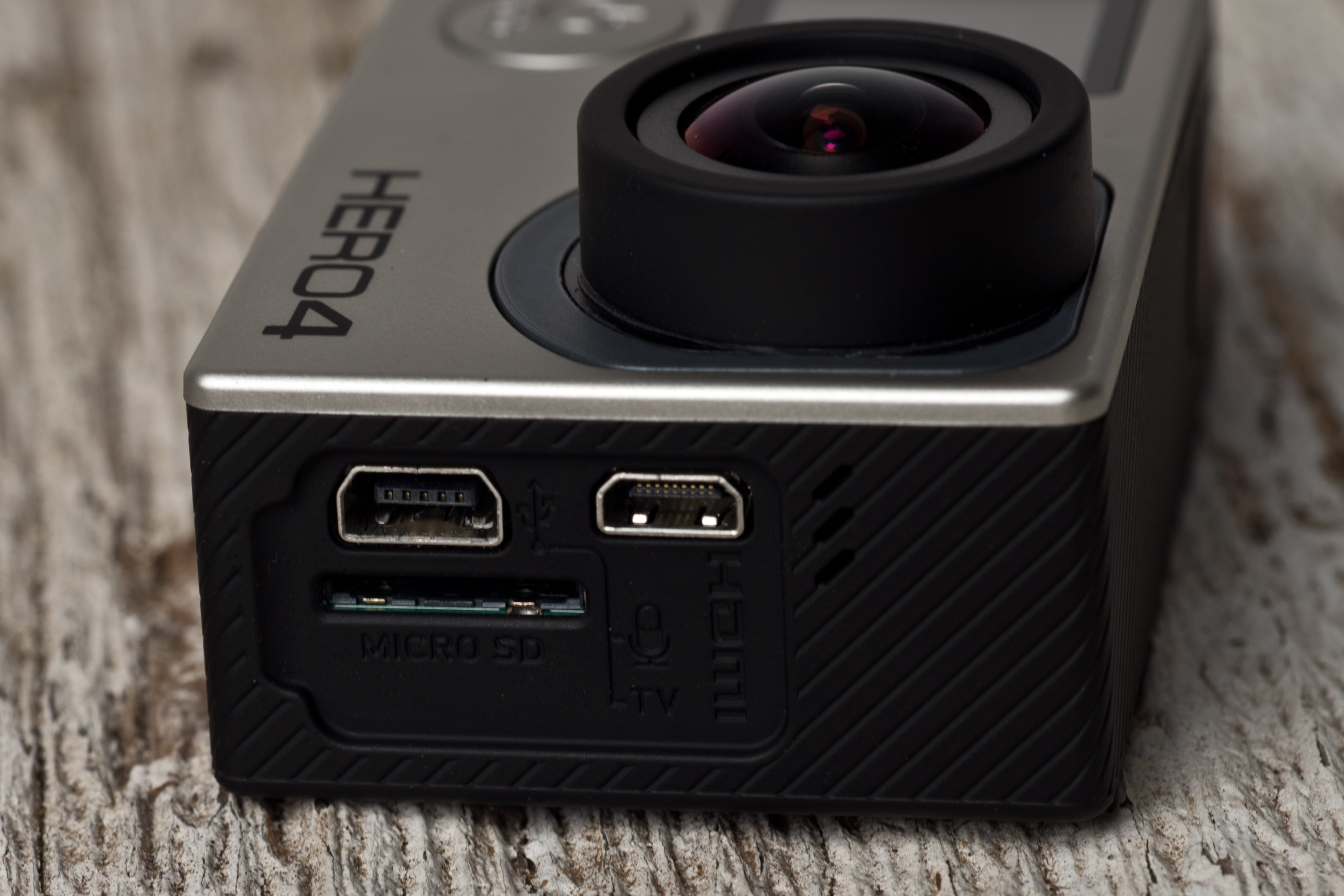 A photograph of the GoPro Hero 4 Black's ports.