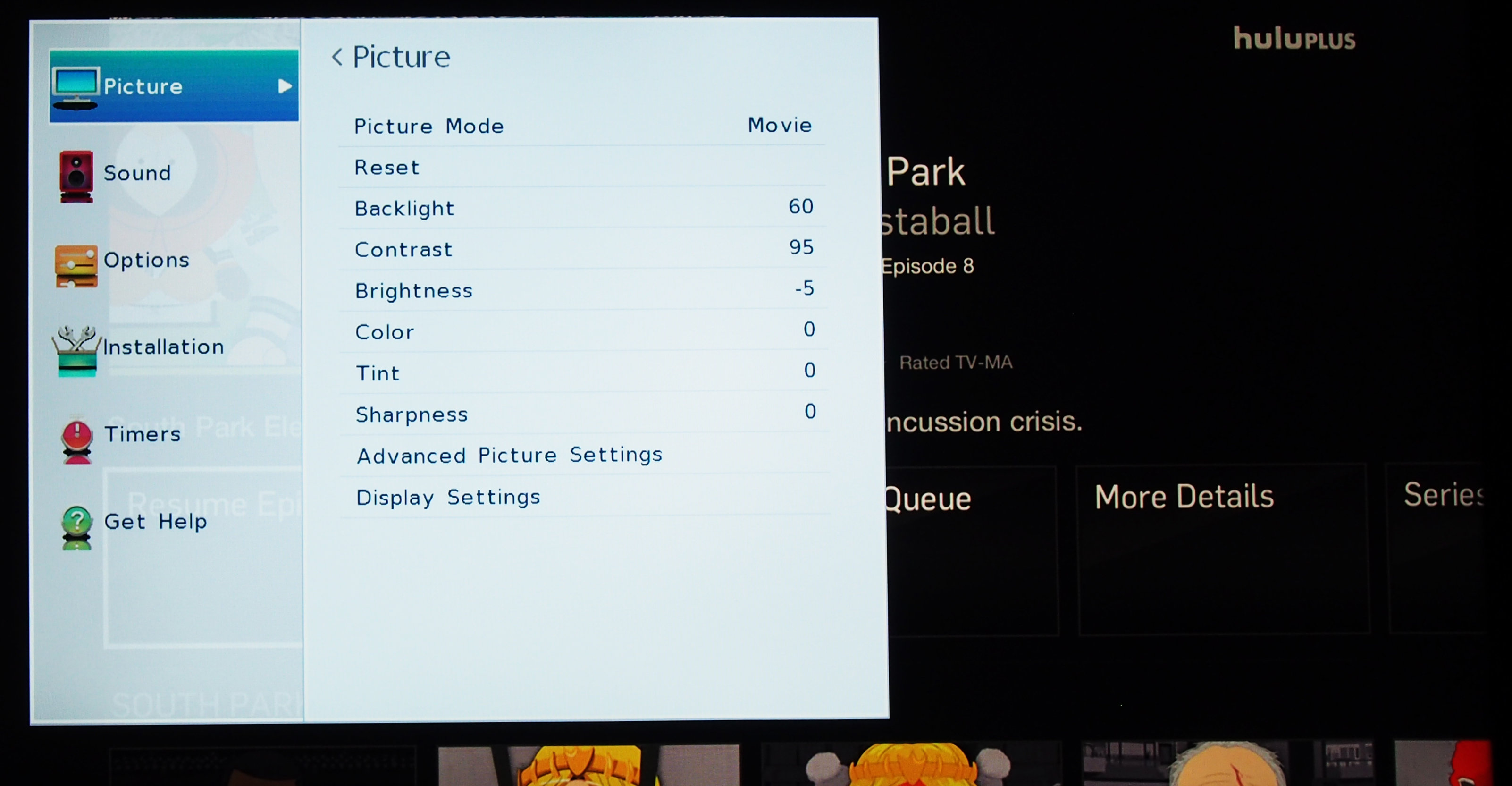 The Picture menu has all basic tweaks available, plus a fully-loaded color management system.