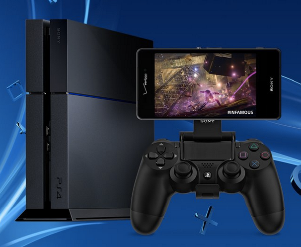 A manufacturer-provided image of the Sony Xperia Z3 in use with a Sony PlayStation 4.