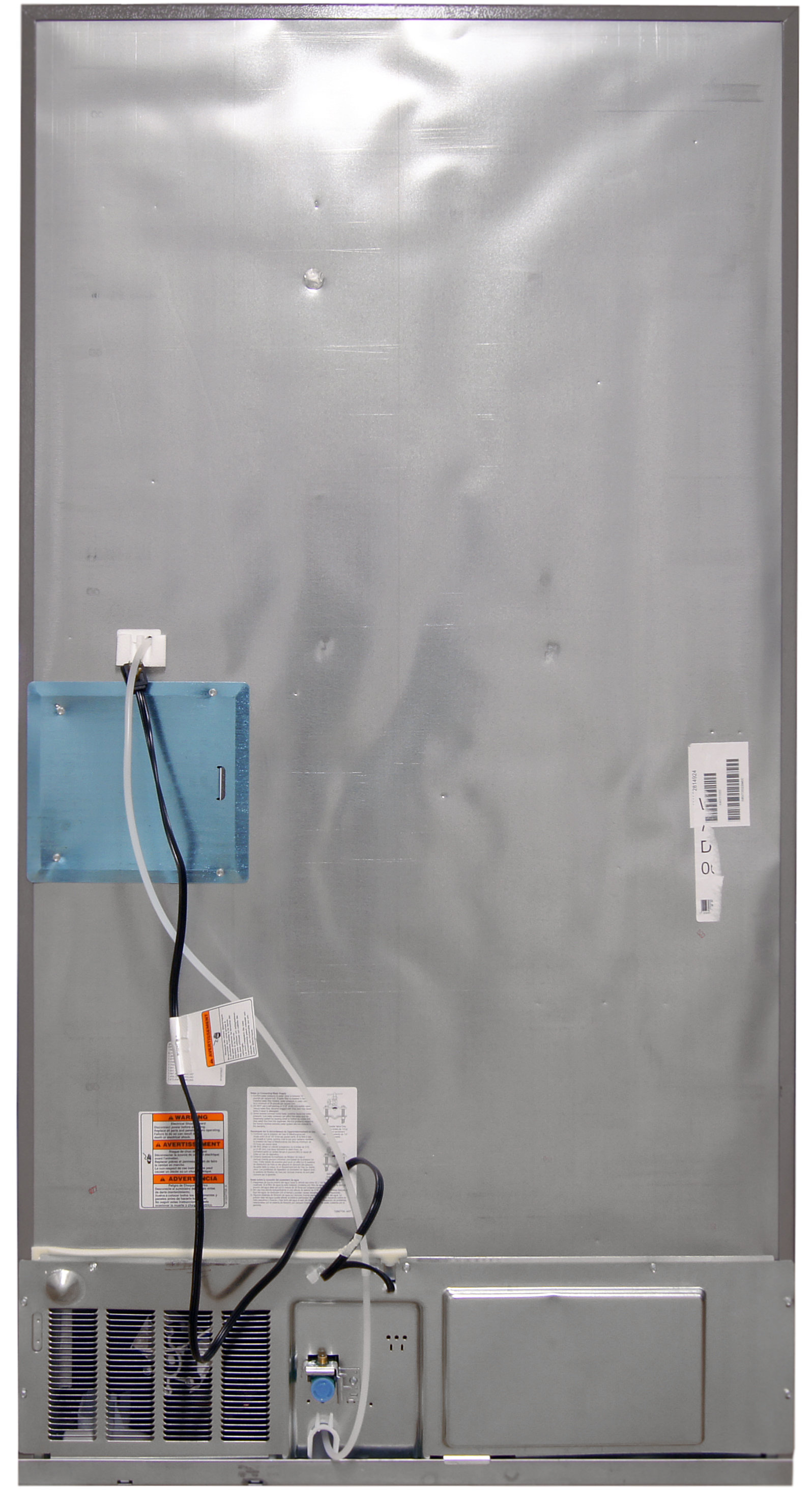 The smooth metal back of the Whirlpool WRX735SDBM is home to the power cable and water hookup.