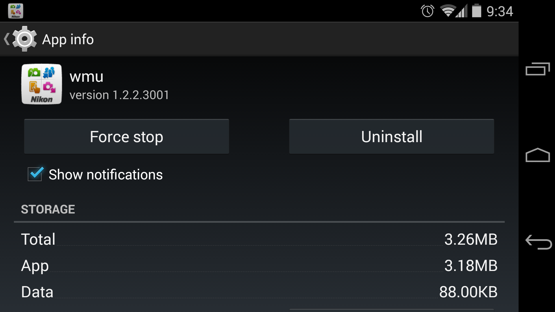 A screenshot of the Nikon's WMU app screen in the Android system menu.