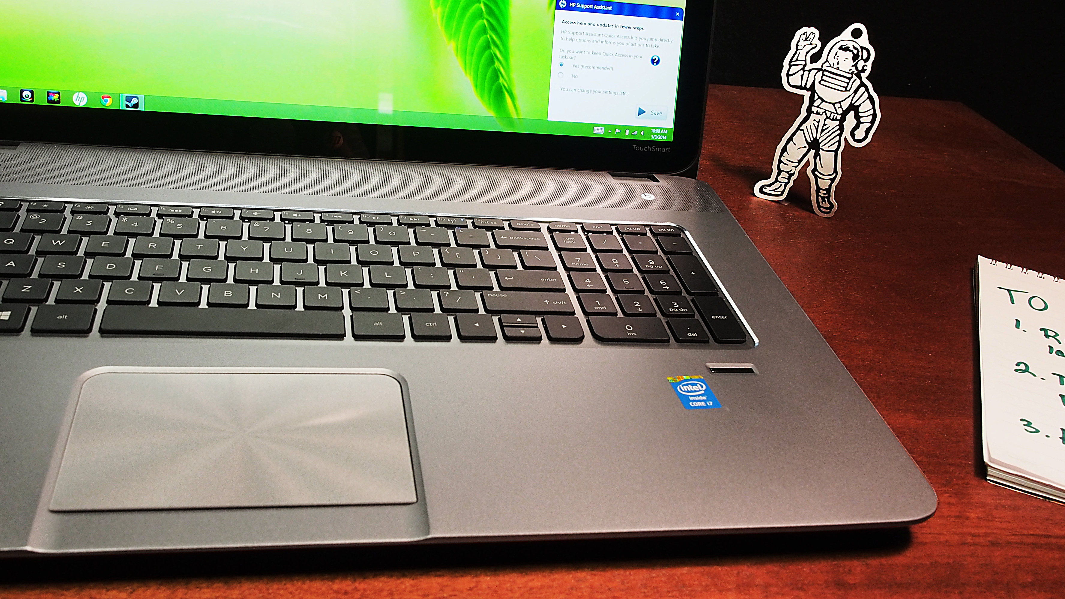 The HP Envy's touchpad isn't flush with the base, which means food crumbs can get under it.