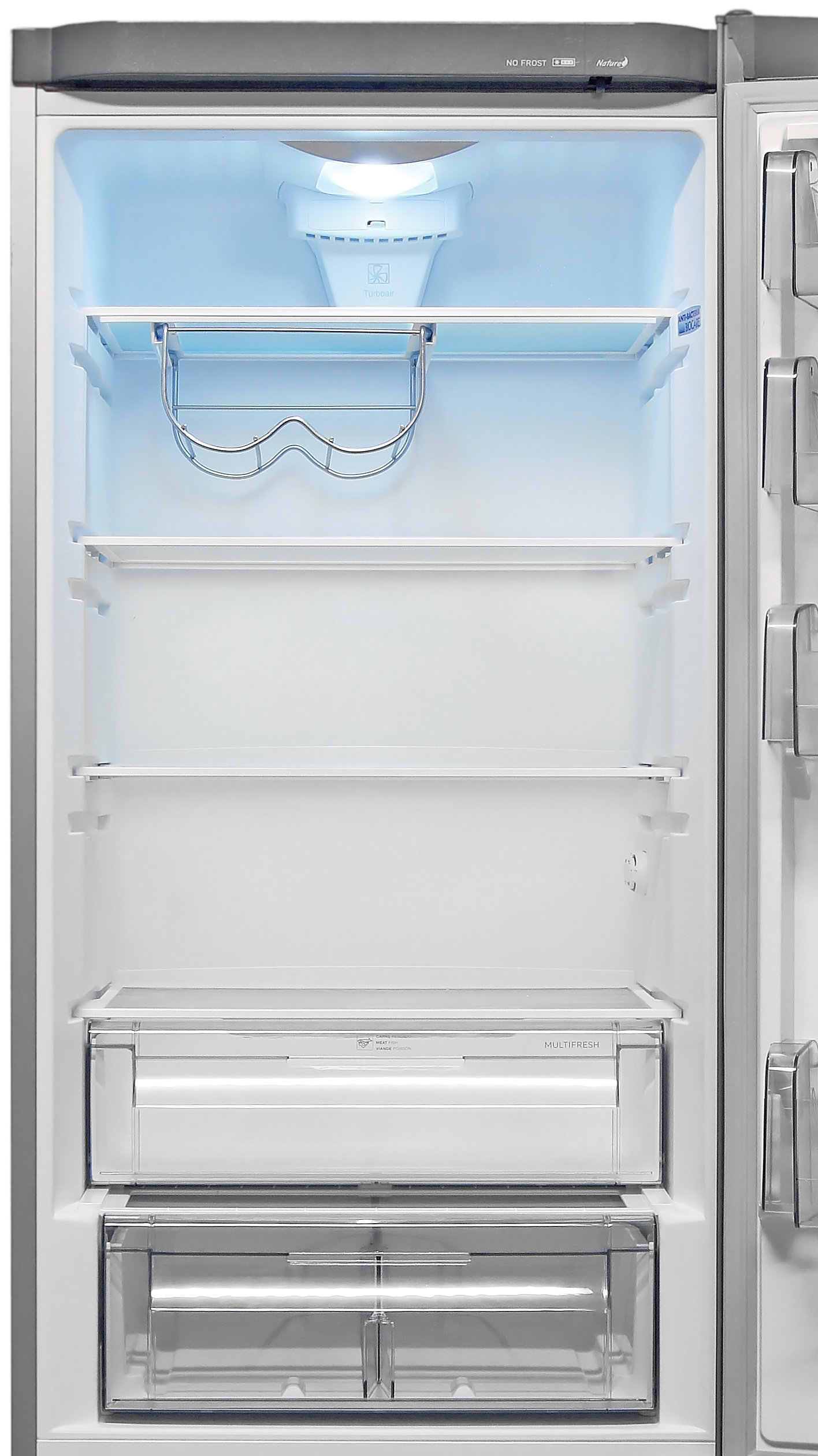 The Fagor FFJA4845X's main fridge compartment is accessible and stylish, though customization options are somewhat limited.