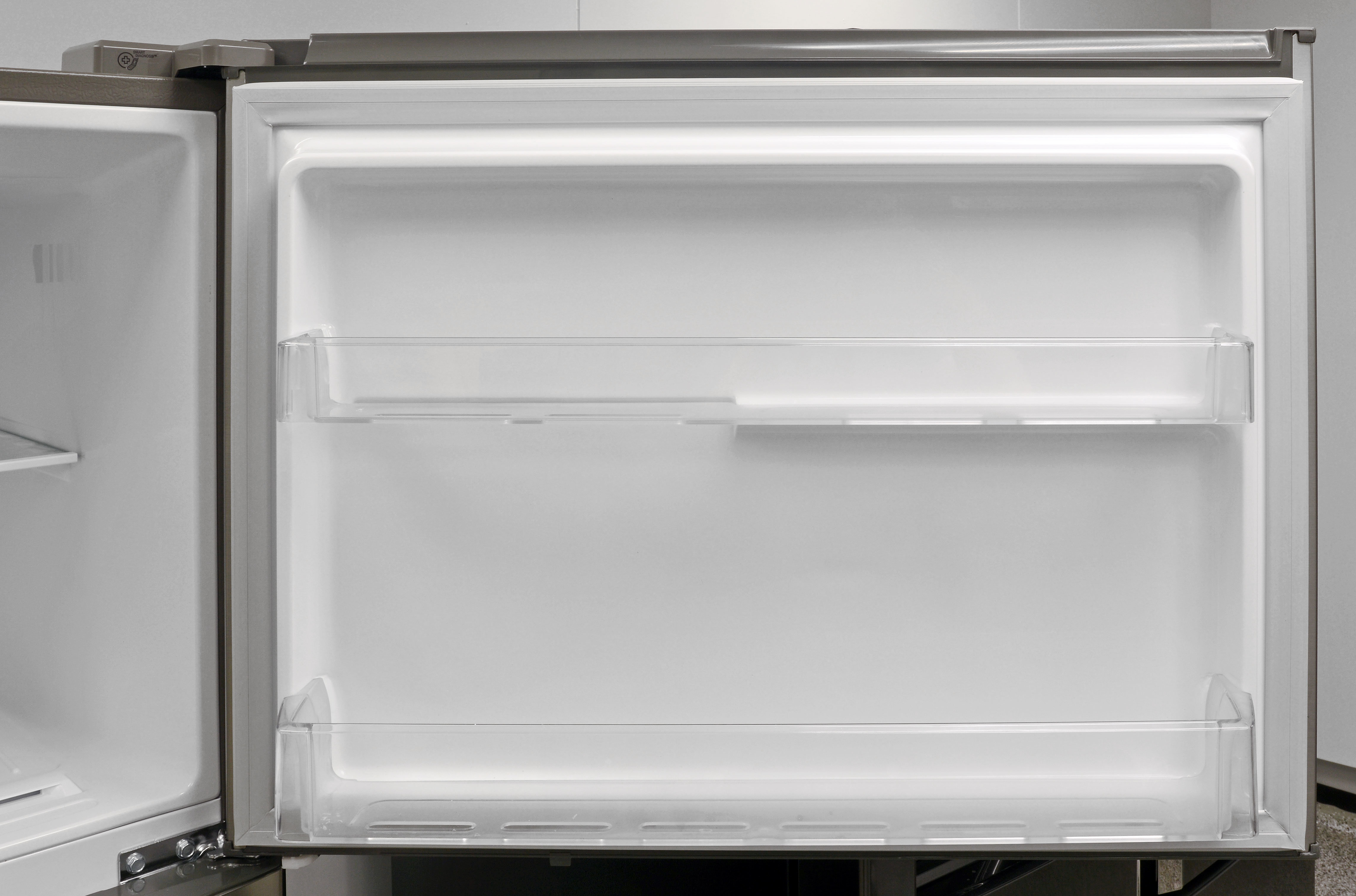 Just two basic, shallow door shelves for the LG LTNS16121V's freezer.