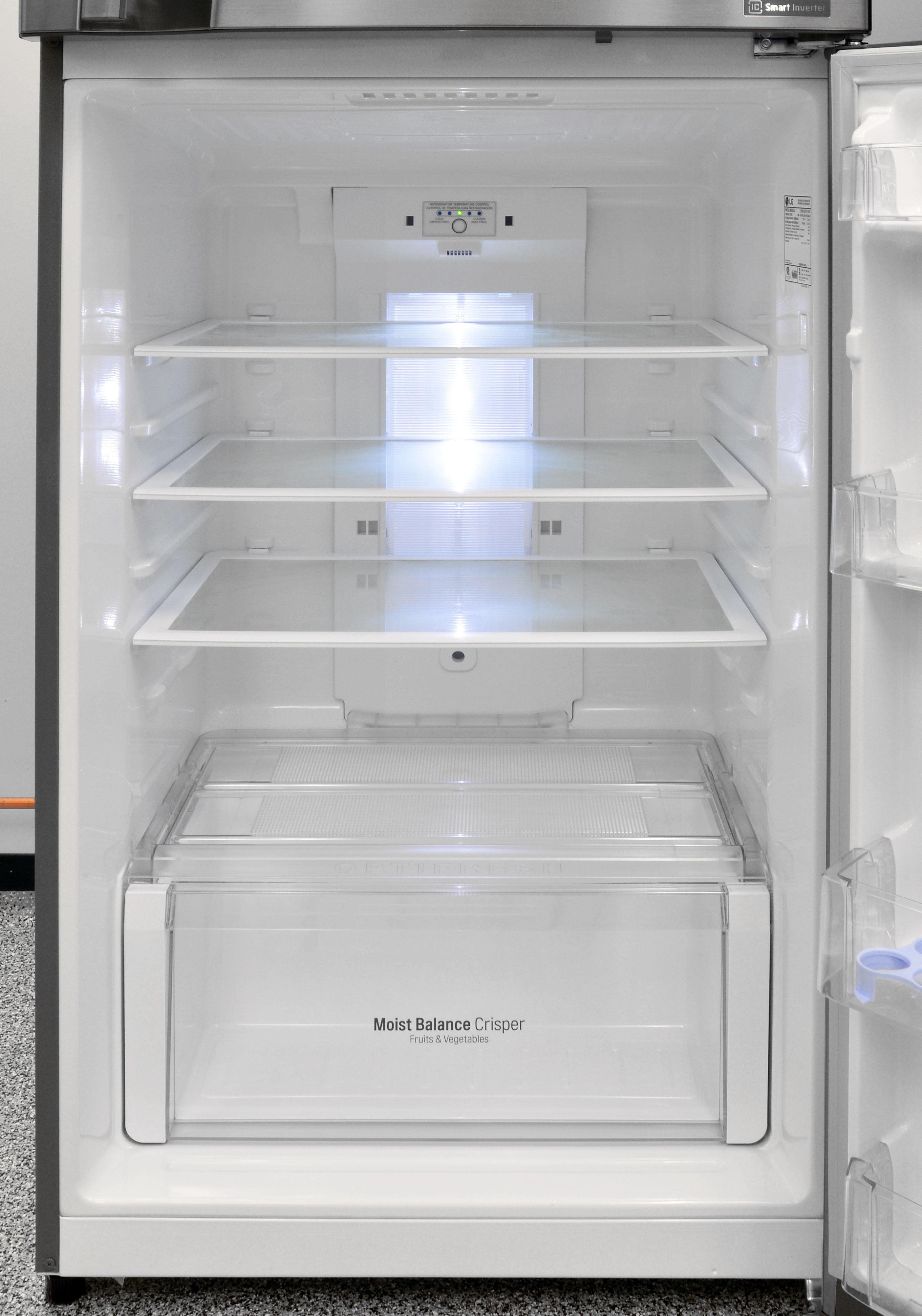 The LG LTNS16121V's fridge interior is stylish, but the LED lighting is surprisingly dim.