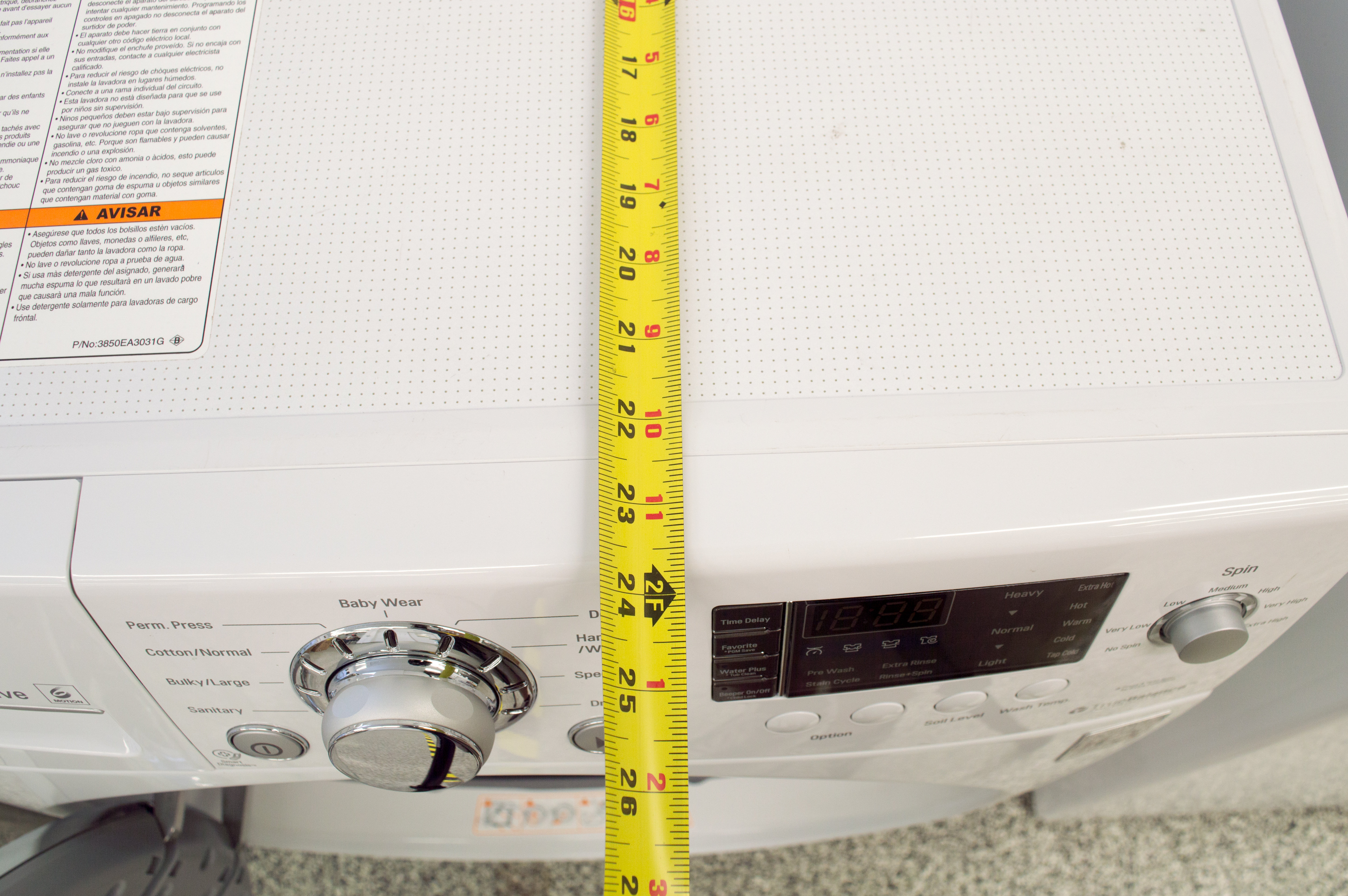 This compact washer is just 24-inches wide, 33-inches tall, and 25-inches deep.