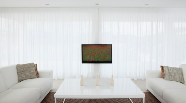A room that is too bright for a TV