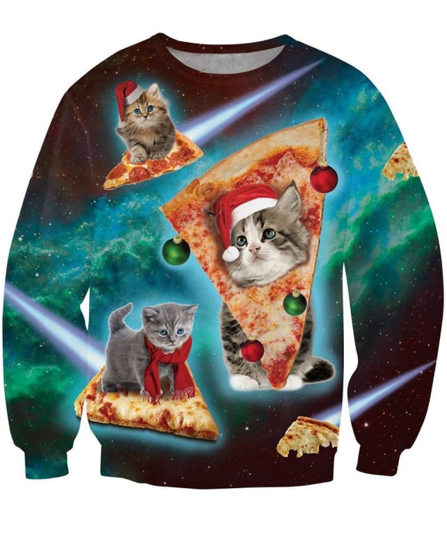 Holiday Cats on Pizza Sweater