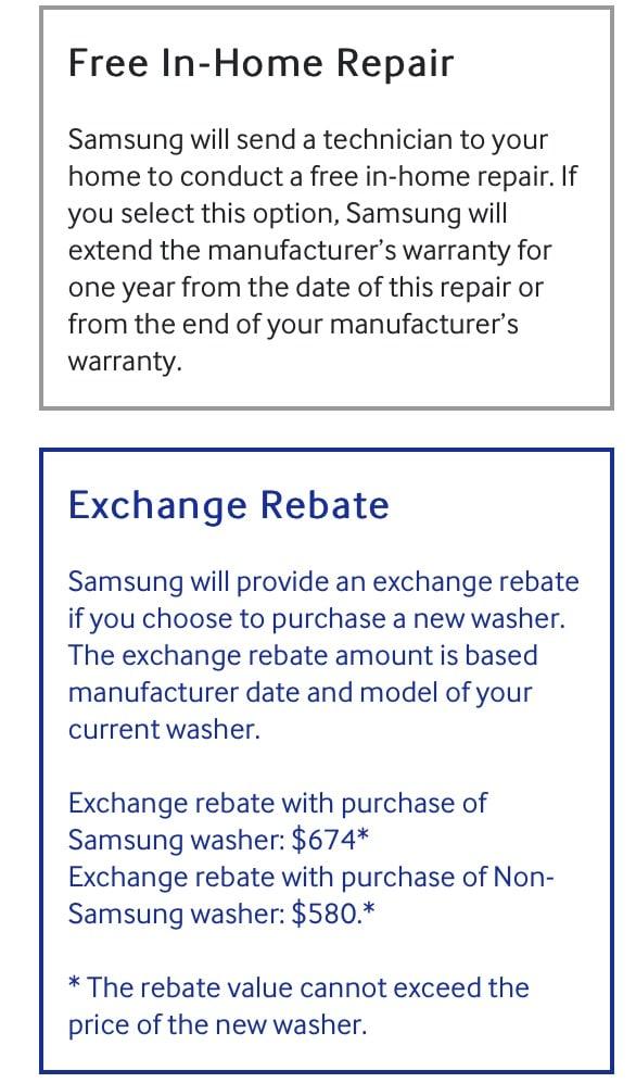 Samsung Recall Rebate Screenshot
