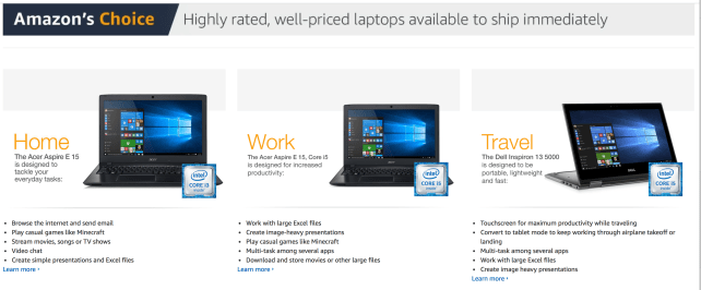 Amazon's Choice Laptops