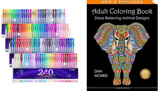Gel Pens and Coloring Book
