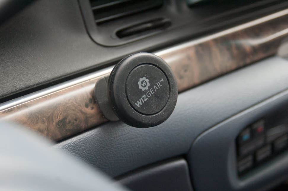 When not in use, a magnetic mount sticks to your car's trim