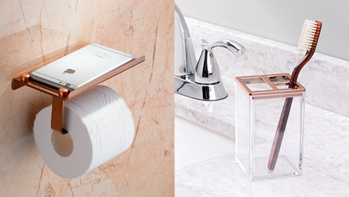 12 rose gold accessories for your bathroom for Rose gold bathroom set